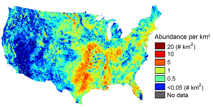Lake density across the continental U.S. Graphic from Winslow et al. 2014. Original data set for mapping from the USGS National Hydrography dataset.