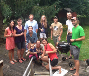 Lab gang summer barbecue, but missing Vince (who was at Trout Lake Station)