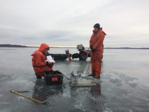 Undergraduate reserachers Kevin Gauthier and Quinn Gavin collecting some winter profile data